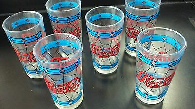 Vintage Pepsi Cola Stain Glass Drinking Glasses Set of 6 excellent condition