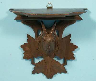 Antique Swiss Black Forest Wood Carved Corbel Shelf Ibex Ram Grape Leaves Brienz