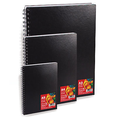Reeves Hardback Sketch Books - Spiral Bound Black Cover  A5 or A4 or A3 MULTIBUY