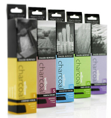 Daler Rowney Coates Natural Willow Charcoal Sticks - Artist Sketching Drawing