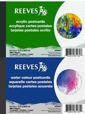 "Reeves Postcard Paper Pad 6 x 4"" , 12 Sheets - Watercolour or Acrylic Available"