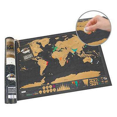 Scratch Off World Map Deluxe Travel Edition - Personalized Journal Traveler Gift
