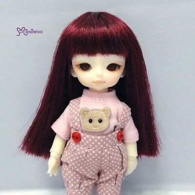 "Mimiwoo Hujoo Baby Suve 4-5"" Heat Resistant Long Straight Bjd Doll Wig Wine Red"