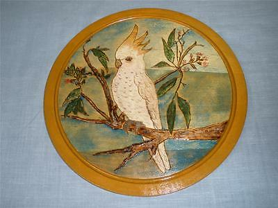 Collectable Carved And Hand Painted Wooden Wall Hanging White Galah
