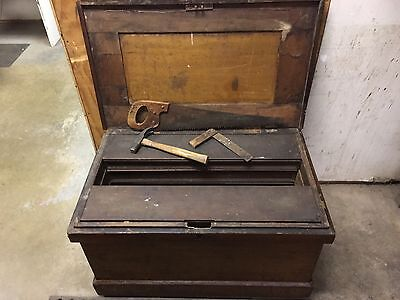 Early American Hand Made Antique 1800s Carpenters Tool Chest Trunk Awesome Look