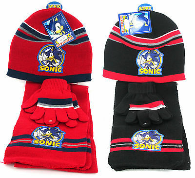 Boys Sonic The Hedgehog Hat, Scarf & Gloves Set in 2 Colours Style HM4302