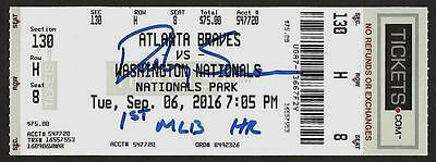 Dansby Swanson Ip Auto Signed Ticket 1St Mlb Hr 9/6/16 Braves Vs. Nats W Insc