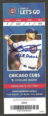 Kyle Schwarber Ip Auto Signed Ticket Mlb Debut 6/16/15 Cubs Vs Indians W Insc