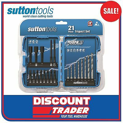 "Sutton Tools 21 Piece Extreme 1/4"" Hex Drive Impact Drill Set - D1830021"