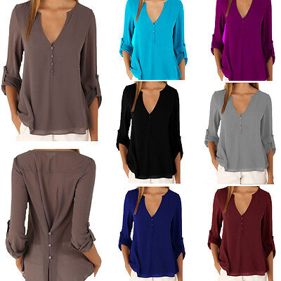 Fashion Womens 3/4 Sleeve Chiffon Shirt Casual Blouse V-Neck Loose Tops T Shirt