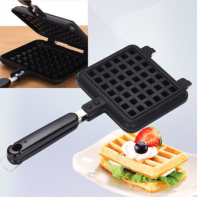 Breakfast Waffle Pan Cookie Cake Maker No-stick Iron Coated Steel  with Handle