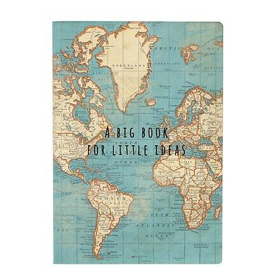 Vintage World Map A5 Travel Notebook Note Pad Plain Unlined Paper Journal Gift