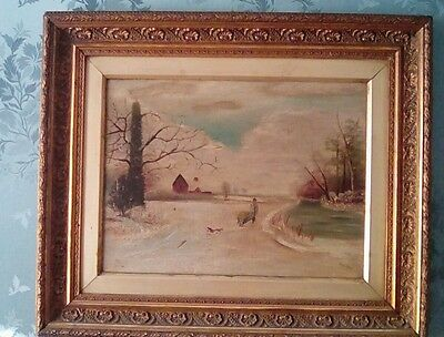 Vintage Oil Painting - A Winter Landscape - Folk Art - Man And Dog by F.A. Mole