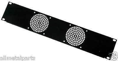 2U Rack panel 19 inch with cutouts for 2 x 80mm Fans Black Folded Panel