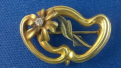 Antique Art Nouveau 10K Floral Watch Pin Brooch with Diamond