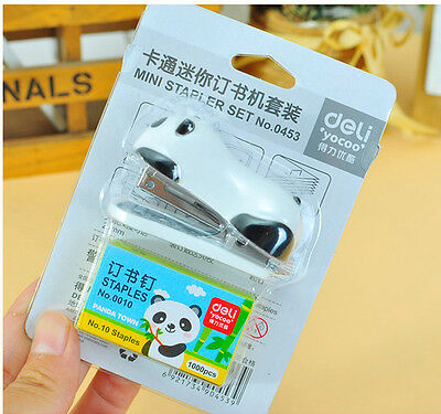 Office Student School Home Mini Panda Paper Document Stapler With Staples Set