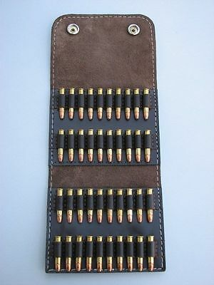Leather AMMO wallet pouch .22  & .22 magnum & .17HMR  HOLDS 40 ROUNDS