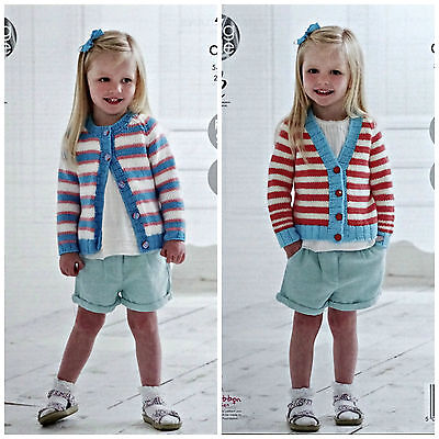 KNITTING PATTERN Girls Easy Knit Round and V-Neck Striped Cardigan Aran 4752