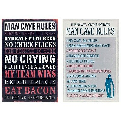 Man Cave Rules Metal Wall Door Sign Plaque 2 Designs to Choose from
