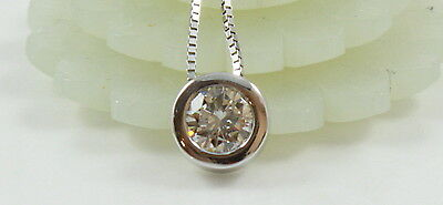 Solid 14K White Gold Bezel .25CT  Round Diamond Solitaire Pendant Necklace 16""