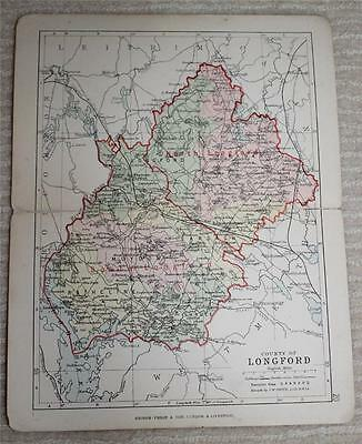 1890 Philips Map of County of Longford, Ireland