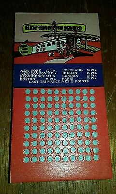 1930's New York To Paris Punchboard Aviation Airplane Theme
