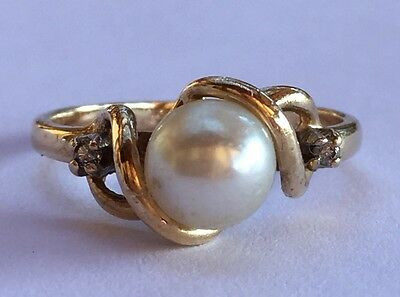 Vintage 10K Yellow Gold Diamond Accent 6.5mm Pearl Ring Size 6