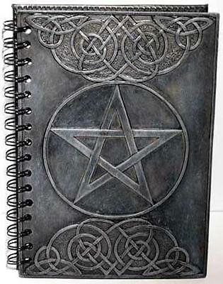 "5.5""x8.5"" Cold Cast Resin Cover Pentacle Book of Shadows!, Journal, Diary!"