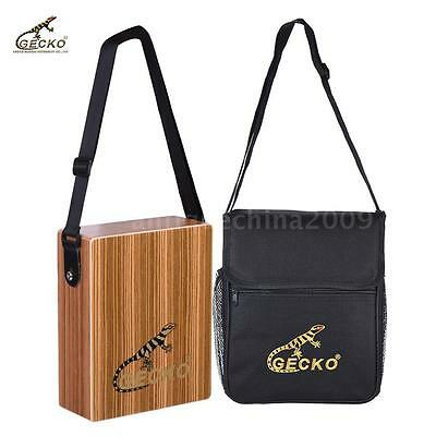 GECKO Traveling Cajon Box Drum Hand Drum Zebra Wood with Strap Carrying Bag A0H5