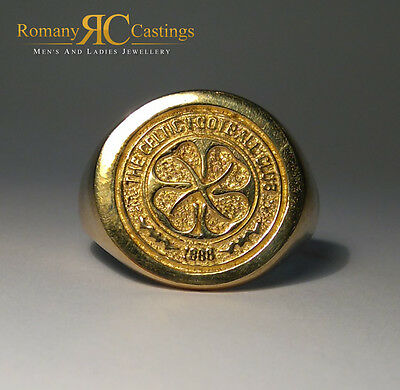 Men's Polished Celtic  FC Cast in 9ct Gold  Ring 6.00 grams Stamped 9ct