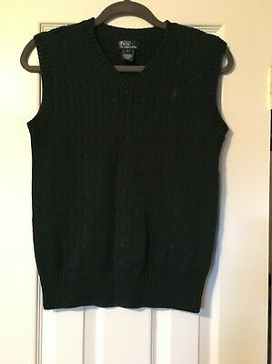 Boys Polo By Ralph Lauren Dark Green Cableknit Sweater Vest Large