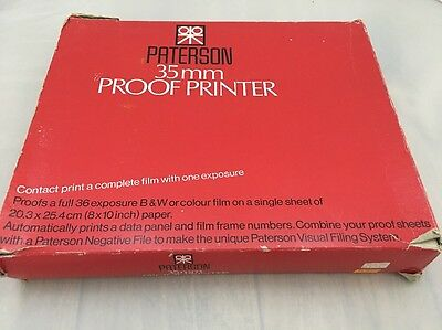 Vintage Paterson Contact Proof Printer  35mm With Box Needs New Foam