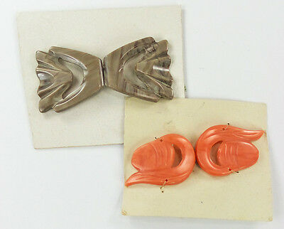 Vintage Casein 2-Pc Clasps Buckles Pearlized Taupe & Peach Pierced Carved Design