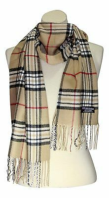 FREE SHIPPING 100% CASHMERE WINTER SCARF PLAID TAN CAMEL WOOL Soft Warm Women
