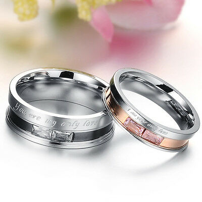 You Are My Only Love Titanium Steel Promise Ring Couple Wedding Band LAUS