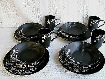 *****gorgeous Onyx Design 16 Piece Dinnerware Set Service For 4  ****