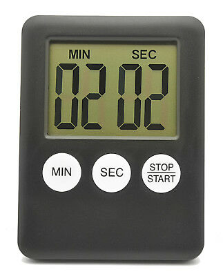 Digital Timer Square Large LCD Kitchen Sport Alarm With Magnet Black. 0111