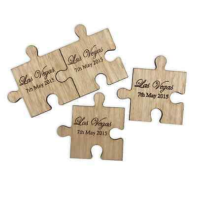 Wooden jigsaw coasters personalised with names tea coffee drinks + Free Gift Box