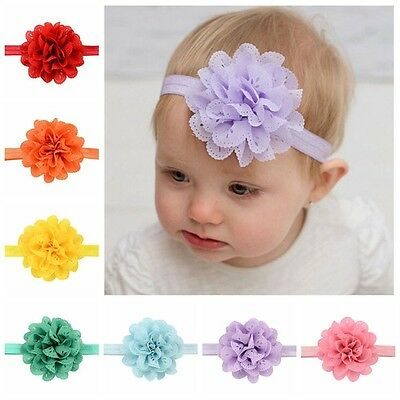 Infant Girls/ Baby Headband Chiffon Scallop Flower Australian Seller
