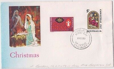Stamps Australia 1969 Christmas pair on Bergen cachet limited edition FDC scarce