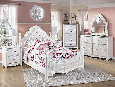 Ashley Exquisite B188Y Full Size Poster Bedroom Set 6pcs in White Youth Style