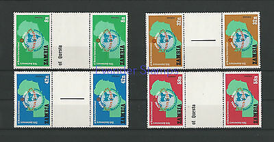 Zambia 1980 The 75th Anniversary of Rotary International Gutter Pairs. MNH