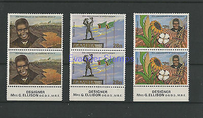 Zambia 1984 Anniv of the United National Independence Party Pairs. MNH