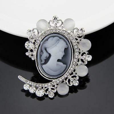 SPILLA CAMMEO 5.5 X 4.5cm - VINTAGE VICTORIAN CAMEO BROOCH WEDDING PIN BROACH