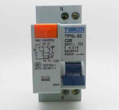 Residual Current Circuit Breaker 16A 25A 32A Overload Leak Protection RCBO 1P+N