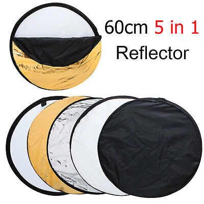 "24"" 60cm 5 in 1 Portable Collapsible Light Round Photography Reflector for Photo"
