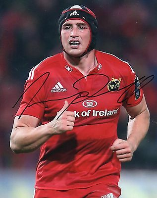 "Tommy O'Donnell Hand Signed Munster/Ireland 10"" x 8"" Rugby Union Photo."