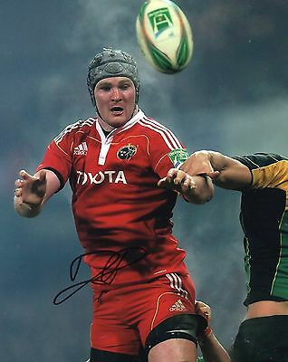 "Donnacha Ryan Hand Signed Munster/Ireland 10"" x 8"" Rugby Union Photo."