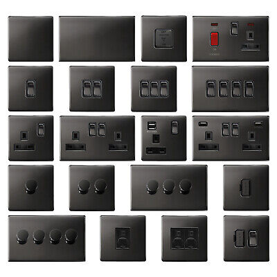 Mega Socket Screwless Slim Flatplate Light Socket & Switches BLACK NICKEL Range