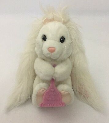 Applause Hare Brush Plush White Bunny Rabbit With Hair Brush Long Ears 7""